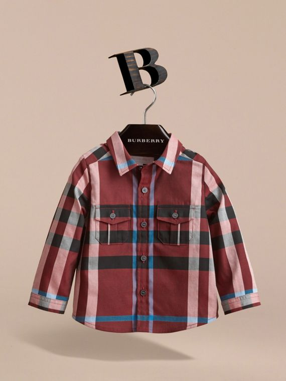 Check Cotton Shirt in Carmine Red | Burberry Canada - cell image 2