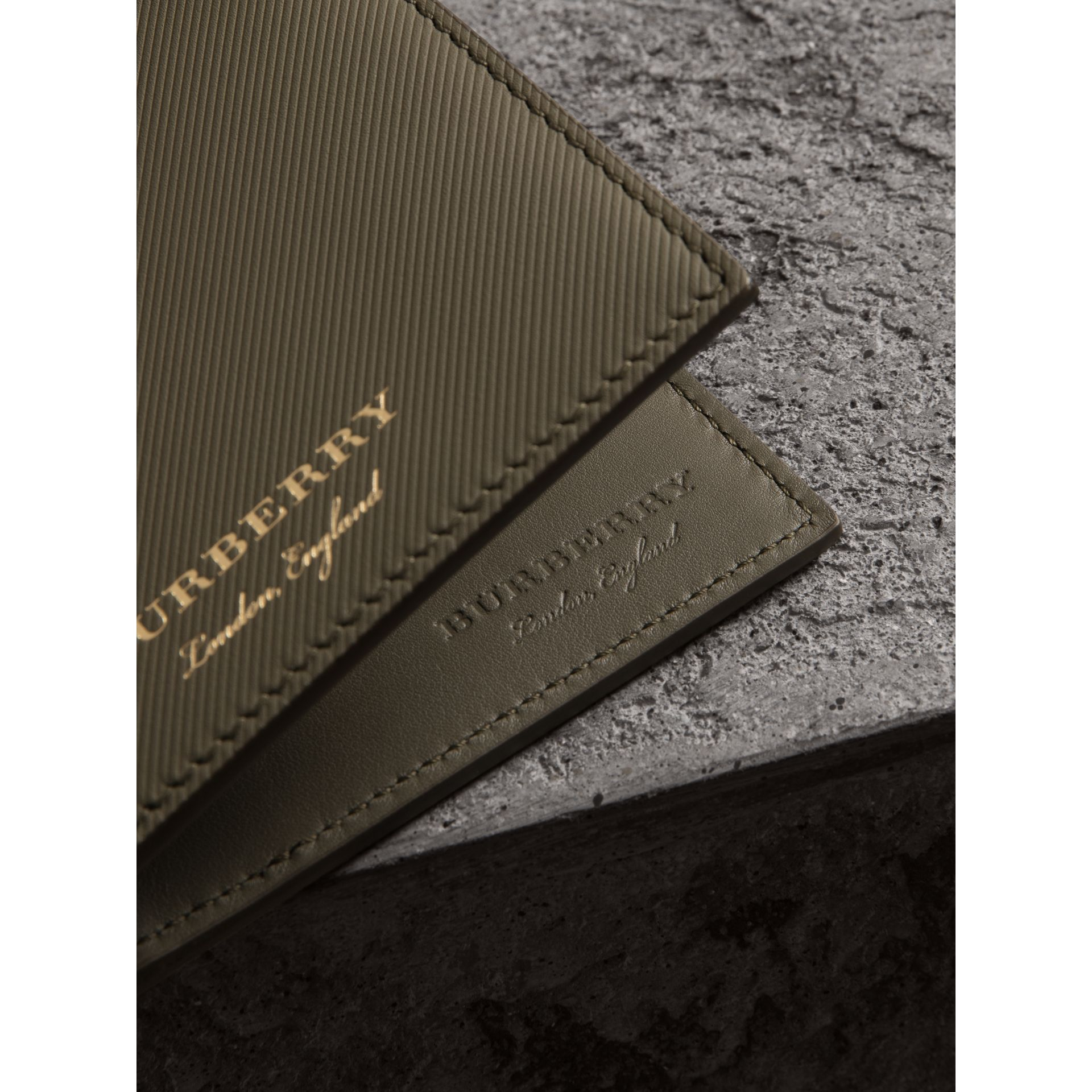 Trench Leather International Bifold Wallet in Slate Green - Men | Burberry United States - gallery image 1