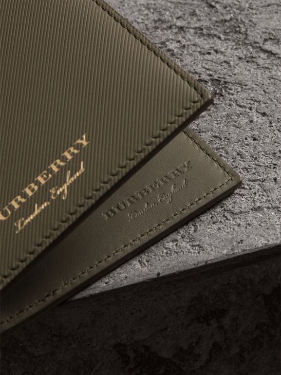 Trench Leather International Bifold Wallet in Slate Green - Men | Burberry - cell image 1