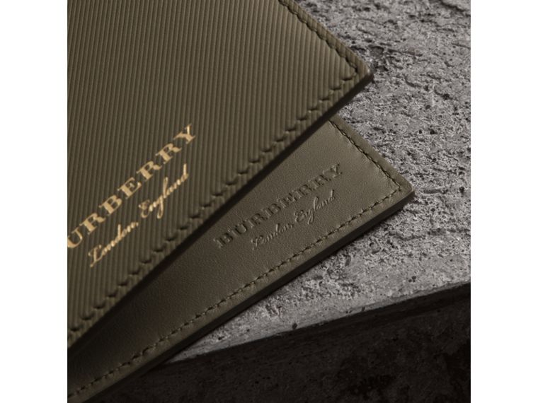 Trench Leather International Bifold Wallet in Slate Green - Men | Burberry United States - cell image 1