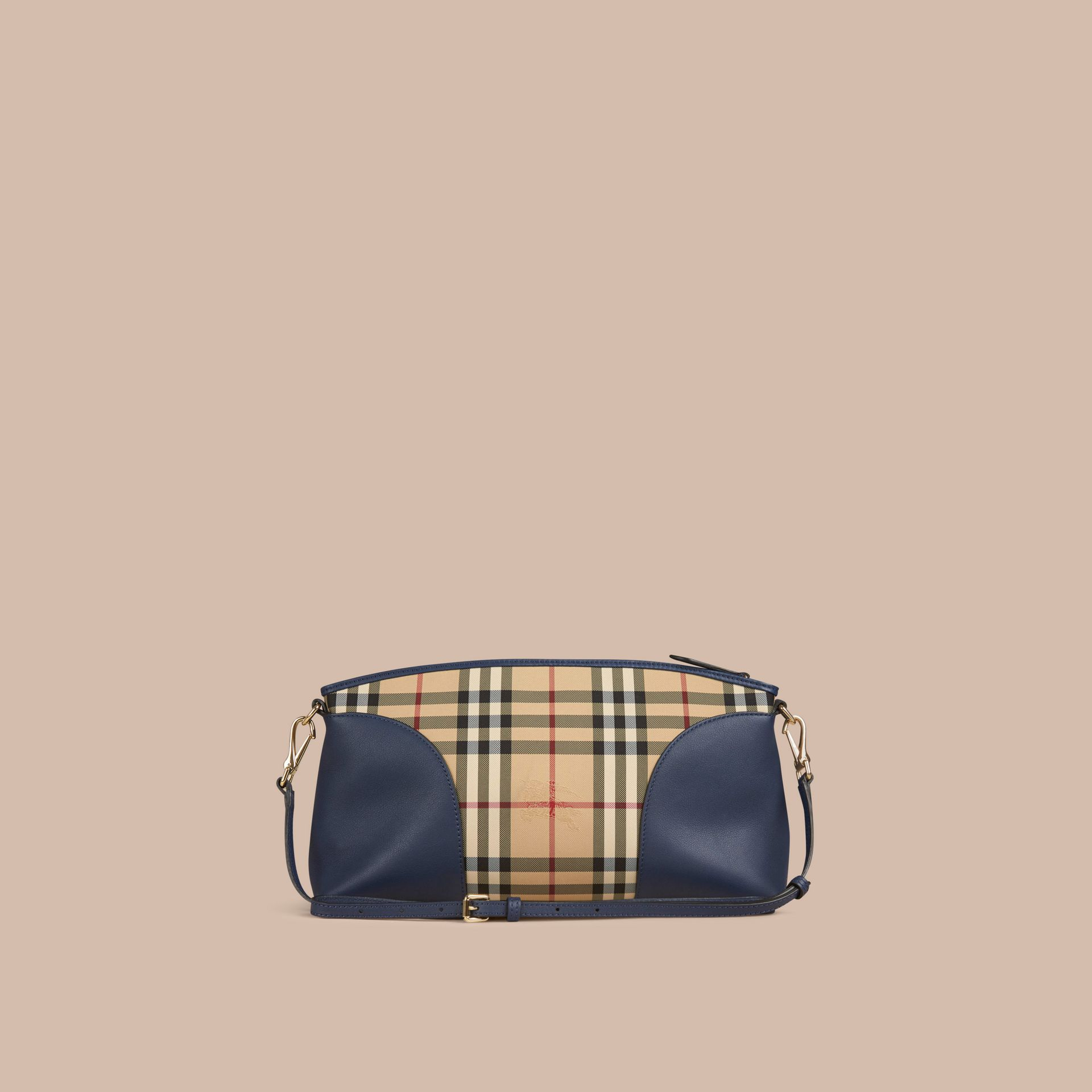 Honey/brilliant navy Horseferry Check and Leather Clutch Bag Honey/brilliant Navy - gallery image 4