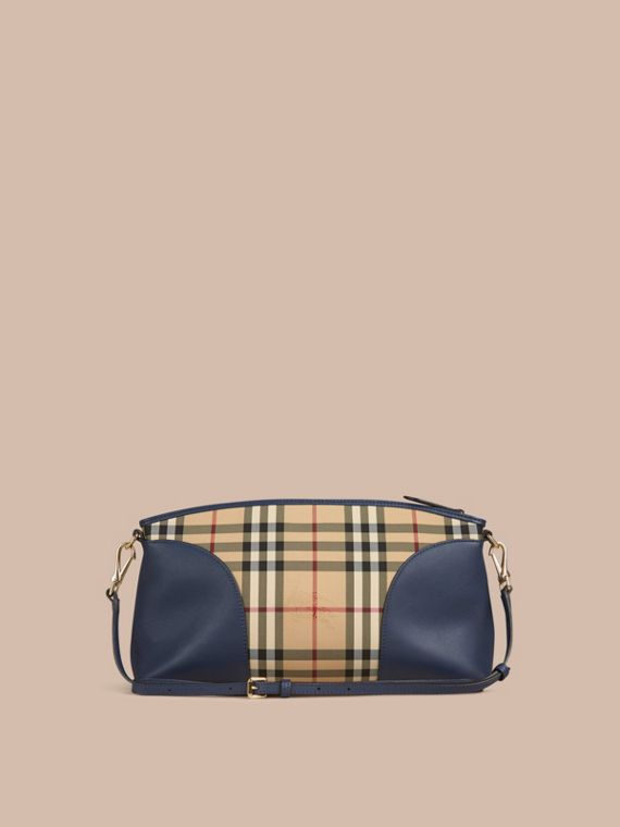 Honey/brilliant navy Horseferry Check and Leather Clutch Bag Honey/brilliant Navy - cell image 3