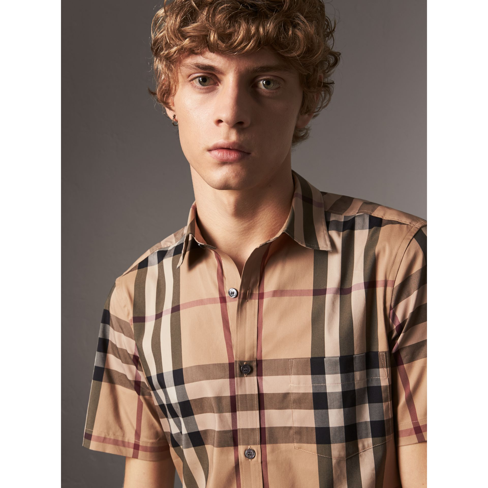 Short-sleeved Check Stretch Cotton Shirt in Camel - Men | Burberry United States - gallery image 1