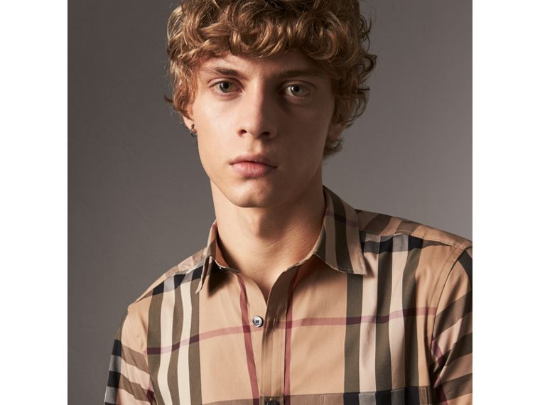 Short-sleeved Check Stretch Cotton Shirt in Camel - Men | Burberry United States - cell image 1