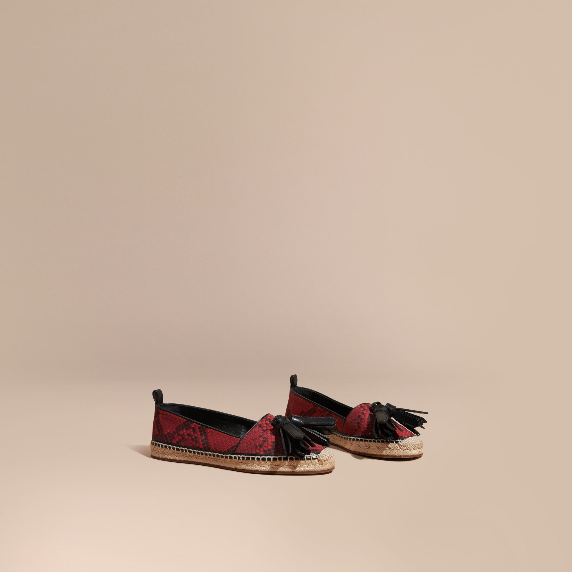Windsor red Tasselled Python Print Cotton and Leather Espadrilles Windsor Red - gallery image 1