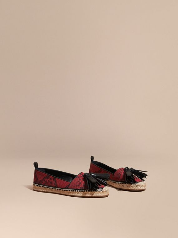 Tasselled Python Print Cotton and Leather Espadrilles Windsor Red