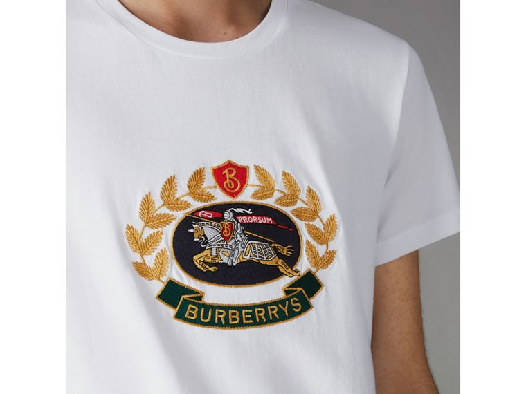 Embroidered Archive Logo Cotton T-shirt in White - Men | Burberry Singapore - cell image 1