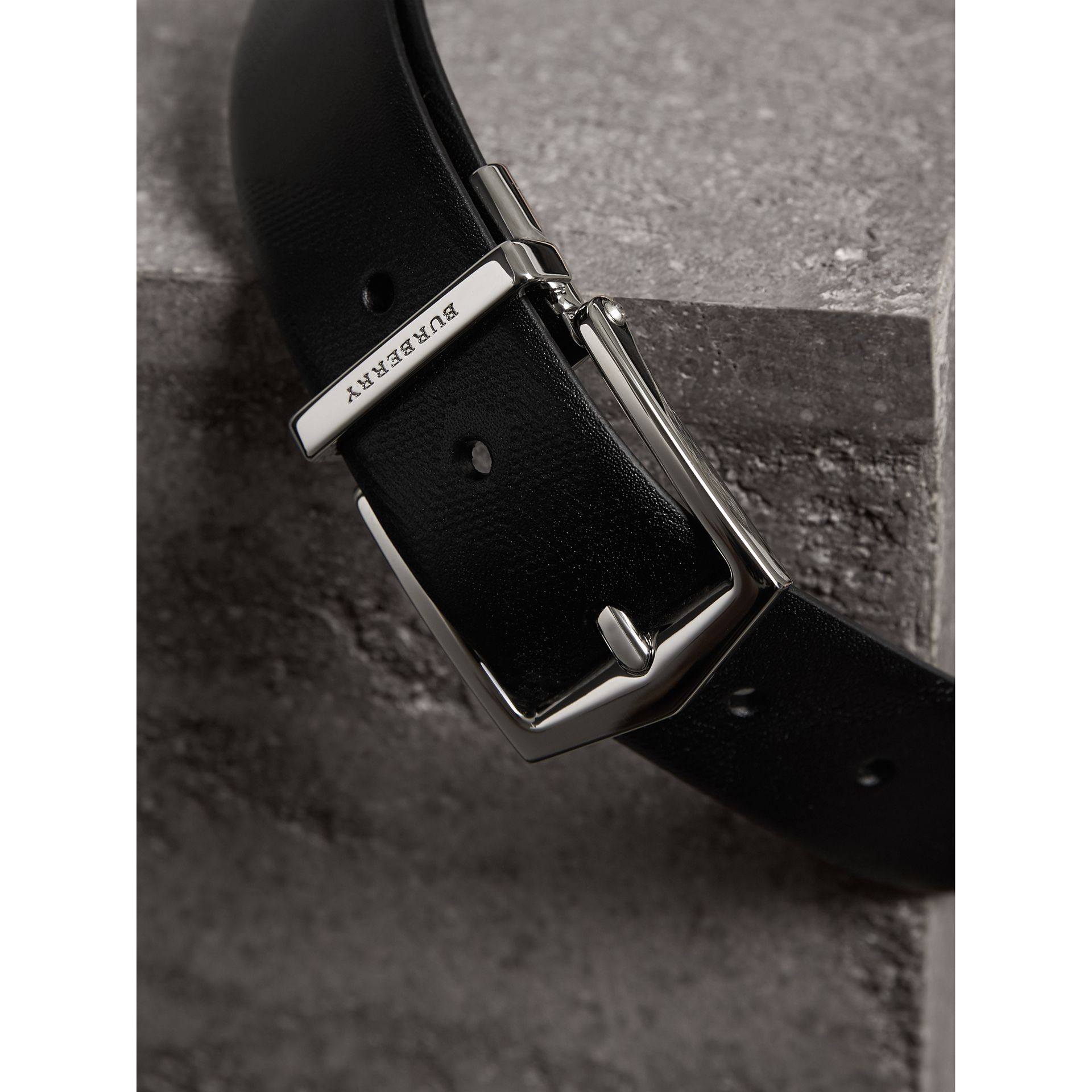 Reversible Embossed Check Leather Belt in Black - Men | Burberry Australia - gallery image 1