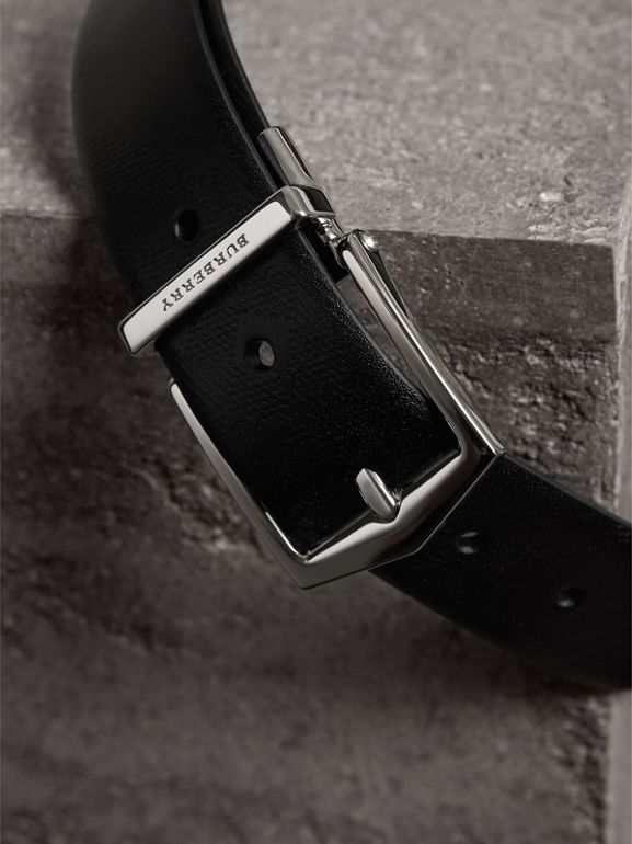 Reversible London Leather Belt in Black - Men | Burberry - cell image 1