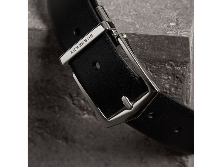 Reversible Embossed Check Leather Belt in Black - Men | Burberry Australia - cell image 1