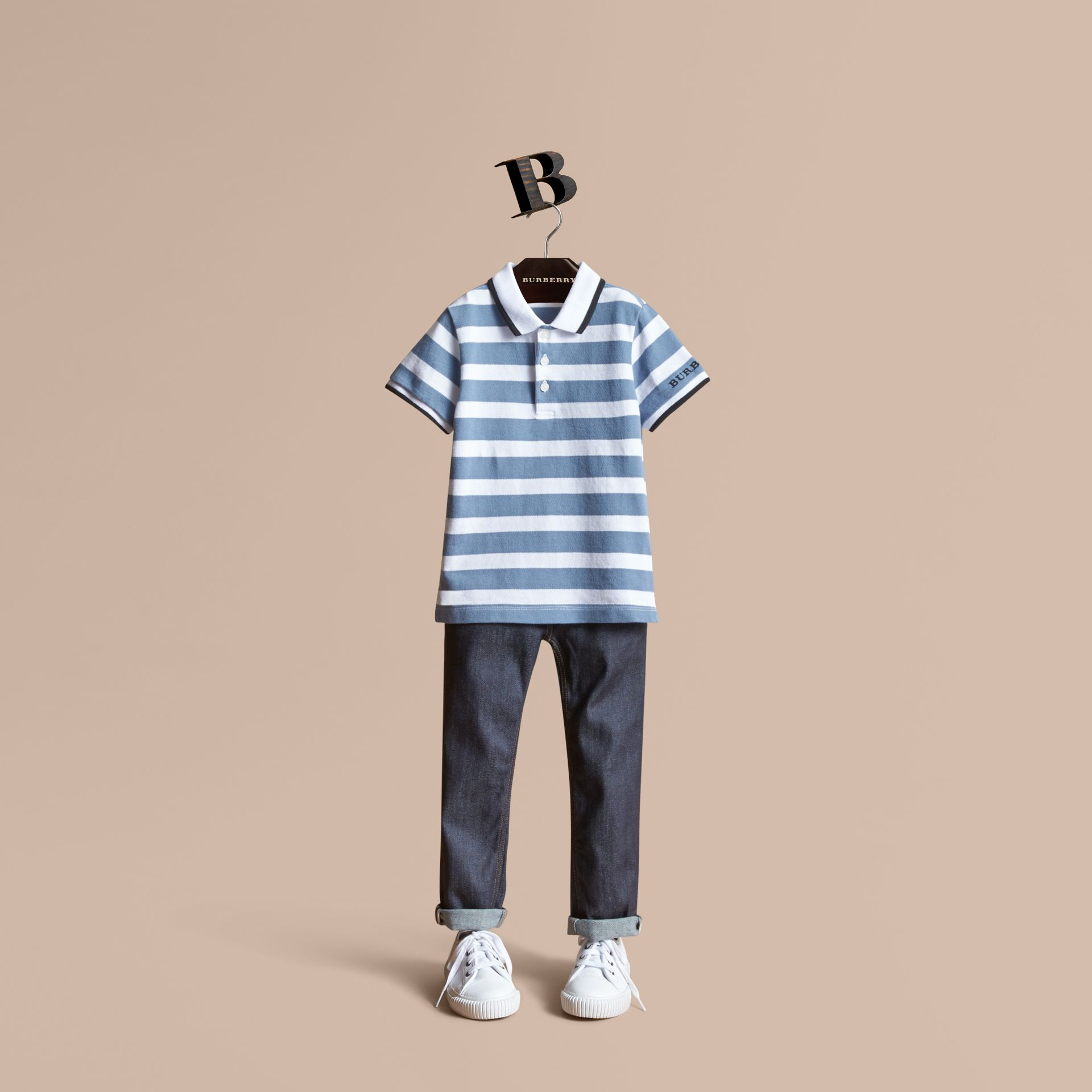 Striped Cotton Polo Shirt in Slate Blue | Burberry - gallery image 1