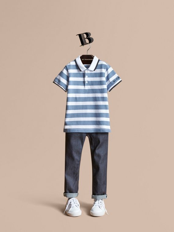 Striped Cotton Polo Shirt in Slate Blue
