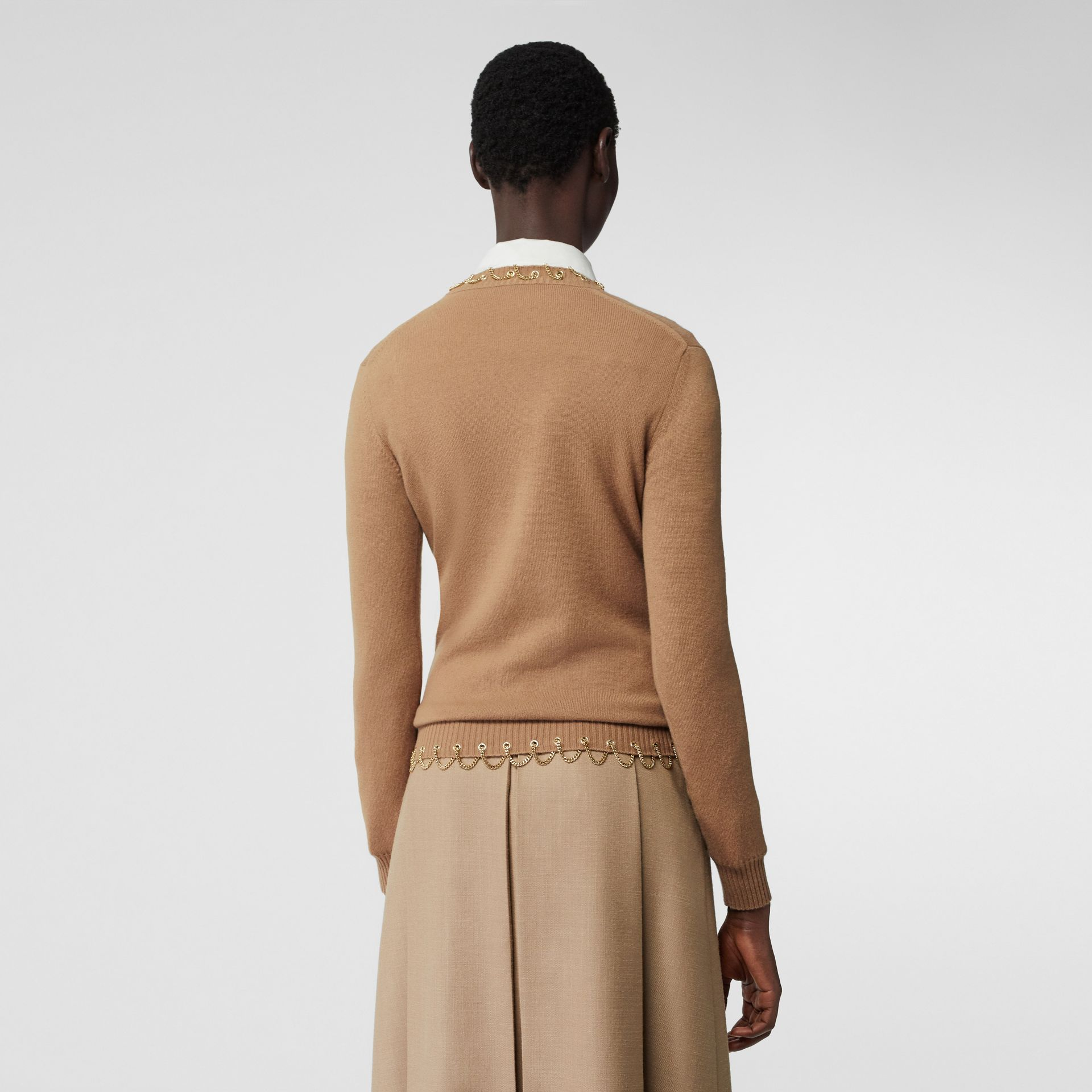 Chain Detail Cashmere Sweater in Camel - Women | Burberry - gallery image 2