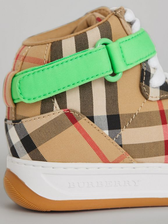 Vintage Check High-top Sneakers in Antique Yellow/neon Green | Burberry United Kingdom - cell image 1