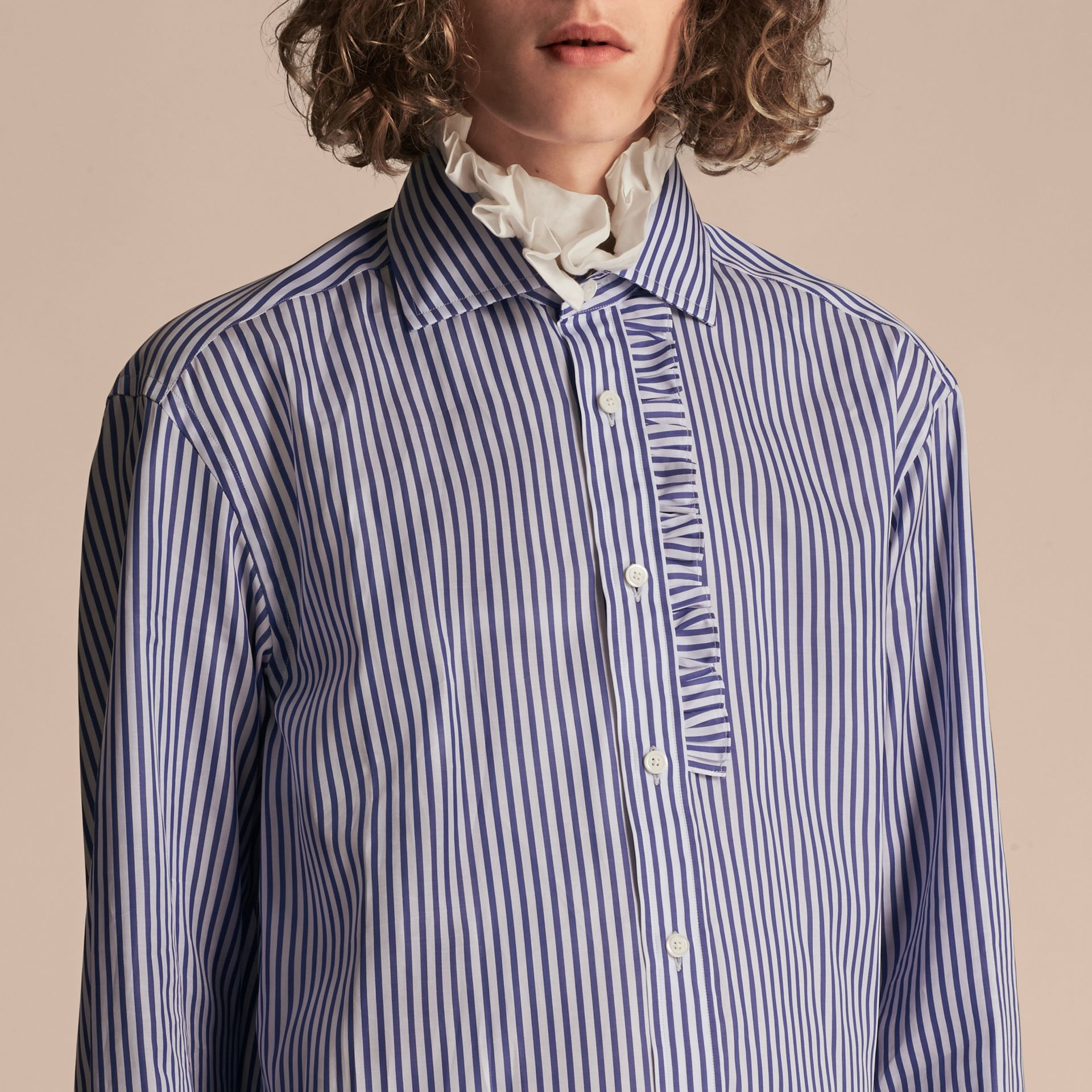 Ruffle Detail Double Cuff Striped Cotton Shirt - gallery image 5