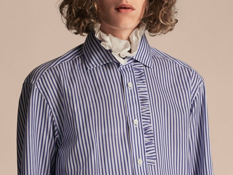 Ruffle Detail Double Cuff Striped Cotton Shirt - cell image 4