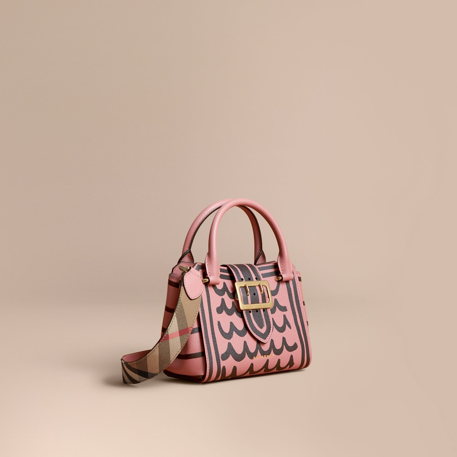 The Small Buckle Tote in Trompe L'oeil Print Leather - Women | Burberry - gallery image 1