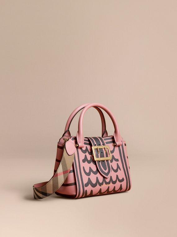 The Small Buckle Tote in Trompe L'oeil Print Leather