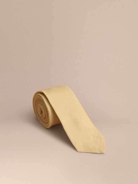 Corbata de pala moderna en lino (Amarillo Piedra)