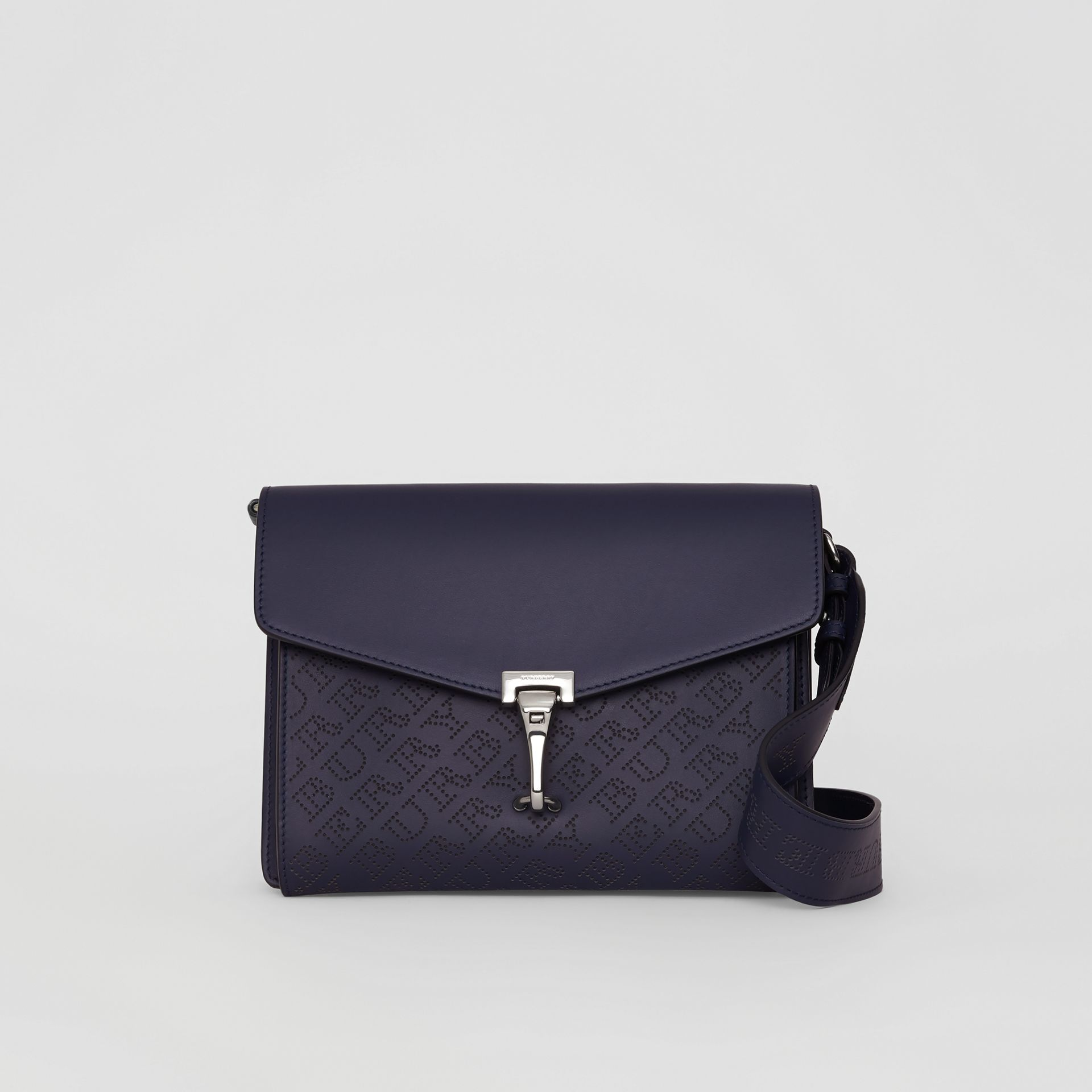 Small Perforated Logo Leather Crossbody Bag in Regency Blue - Women | Burberry - gallery image 0