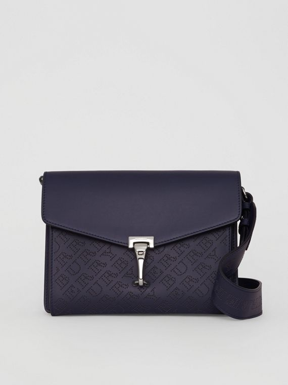 Small Perforated Logo Leather Crossbody Bag in Regency Blue