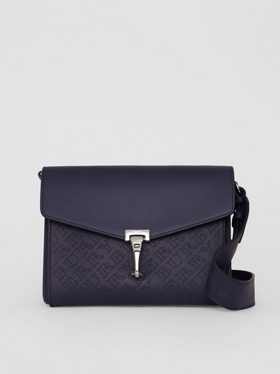 Kleine Crossbody-Tasche aus Leder mit perforiertem Logomuster (Königsblau)