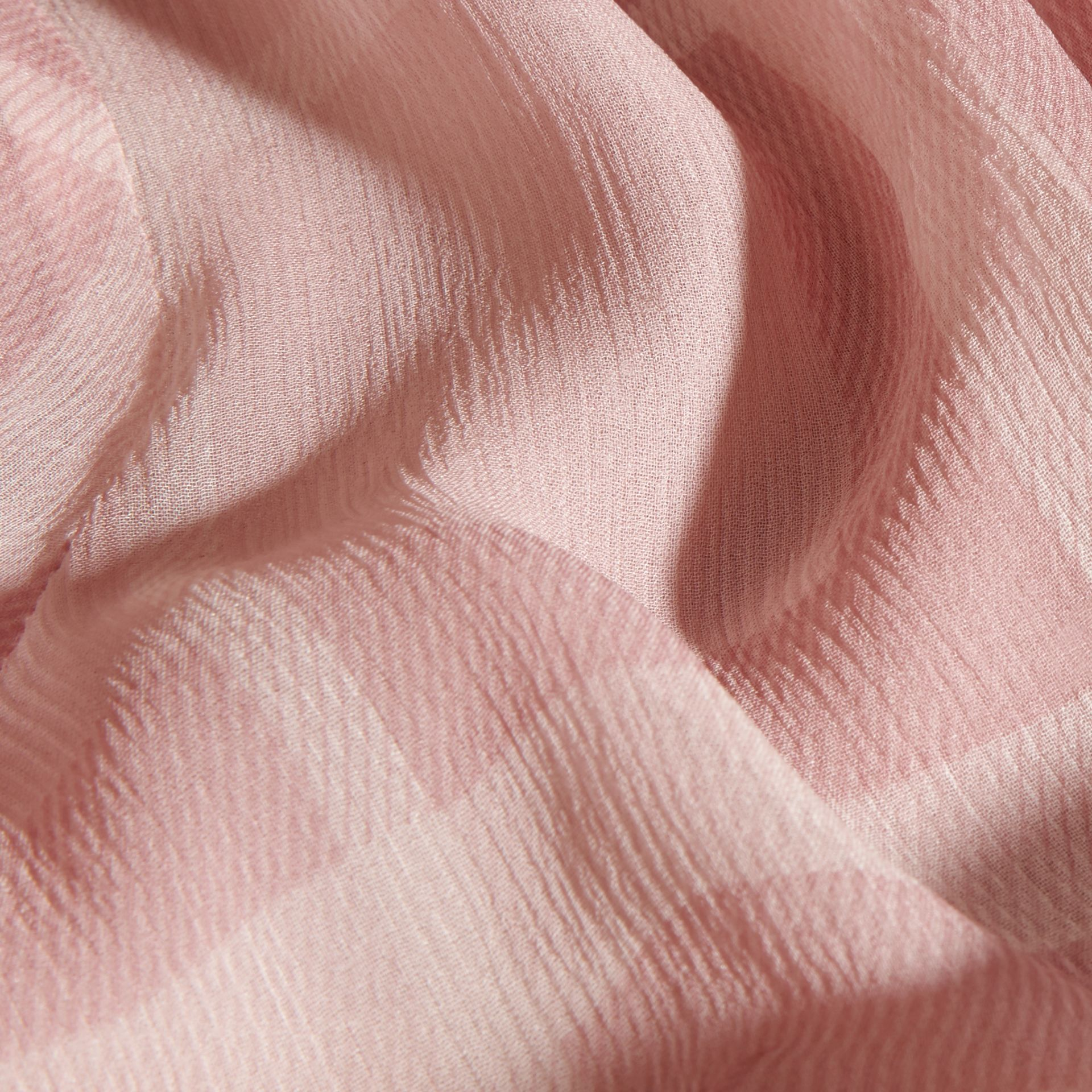 Pale pink Tonal Check Ruffle Detail Silk Crepon Top Pale Pink - gallery image 2