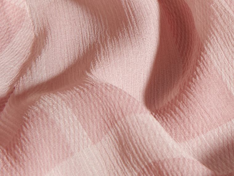 Pale pink Tonal Check Ruffle Detail Silk Crepon Top Pale Pink - cell image 1