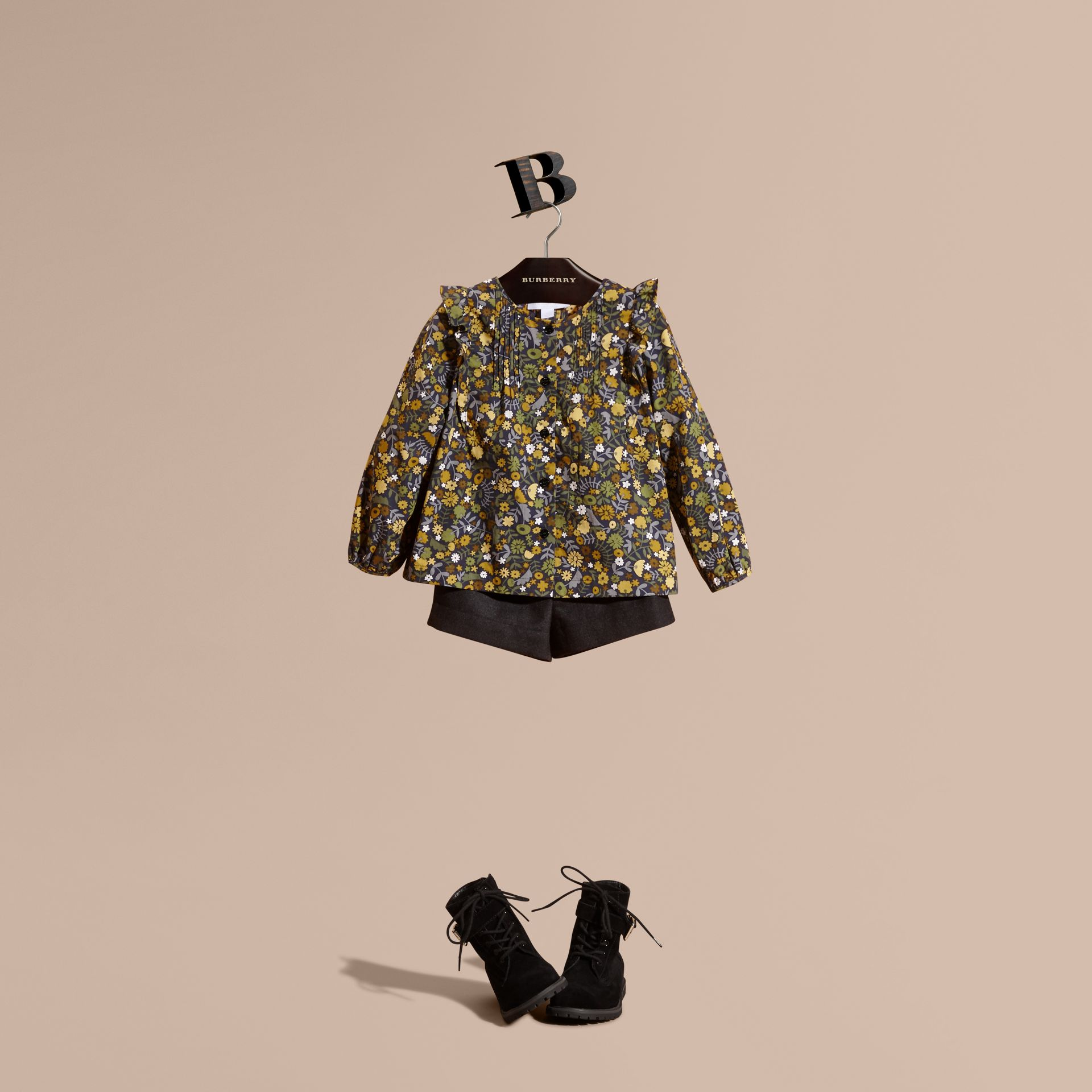 Dusty citrine Floral Print Cotton Shirt with Ruffle Detail Dusty Citrine - gallery image 1