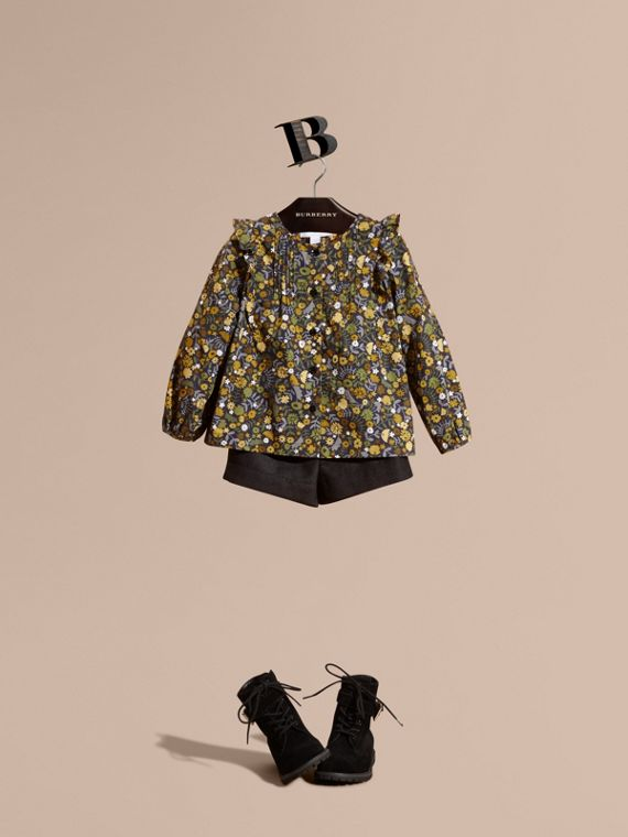 Floral Print Cotton Shirt with Ruffle Detail Dusty Citrine