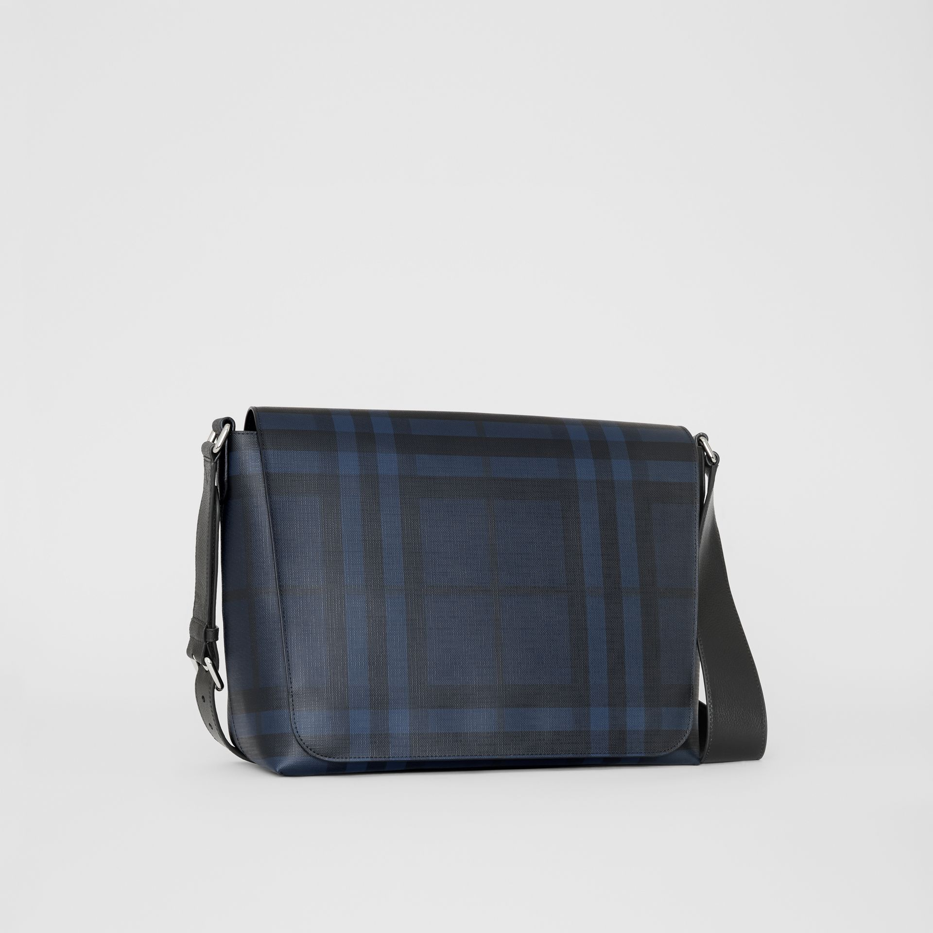 Large London Check Messenger Bag in Navy/black | Burberry United Kingdom - gallery image 6