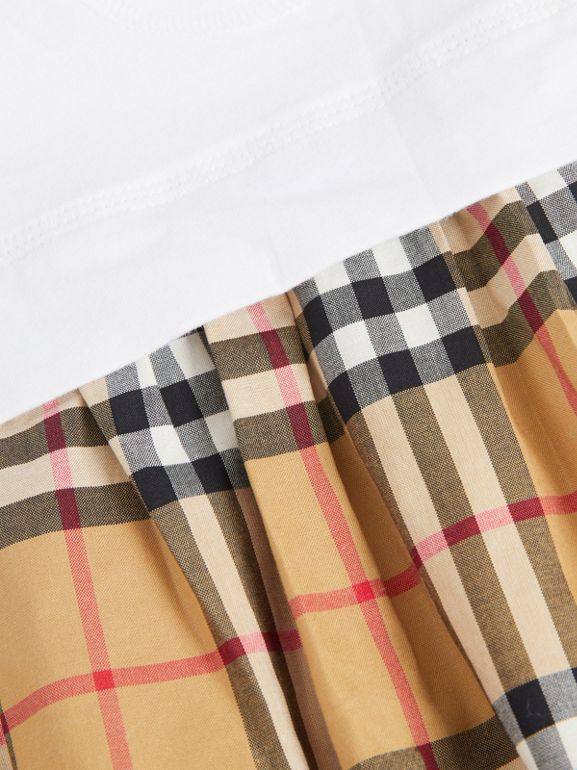 Vintage Check Cotton Dress with Bloomers in White - Children | Burberry Singapore - cell image 1