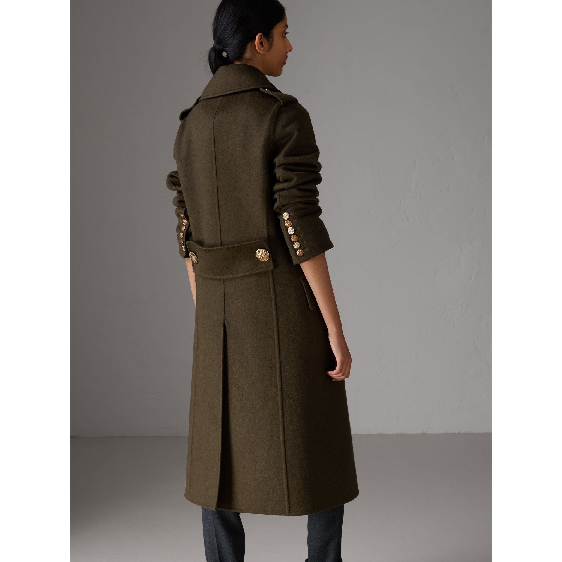 Bird Button Cashmere Wool Military Coat in Dark  Green - Women | Burberry Canada - gallery image 2