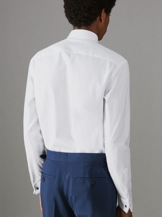 Modern Fit Double Cuff Cotton Shirt in White - Men | Burberry Singapore - cell image 2