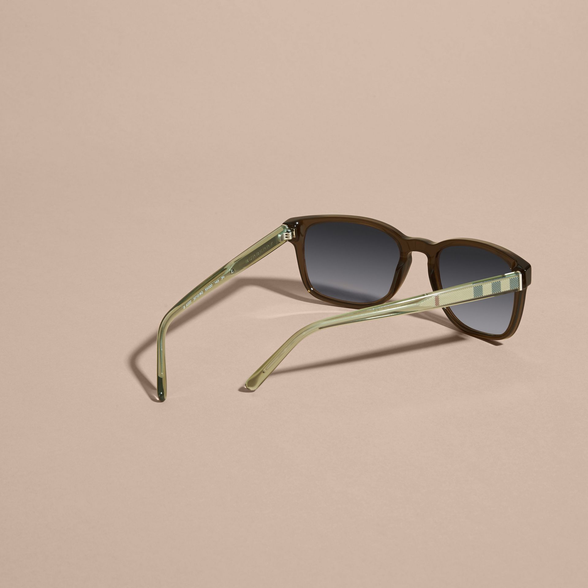 Check Detail Square Frame Sunglasses Olive - gallery image 4