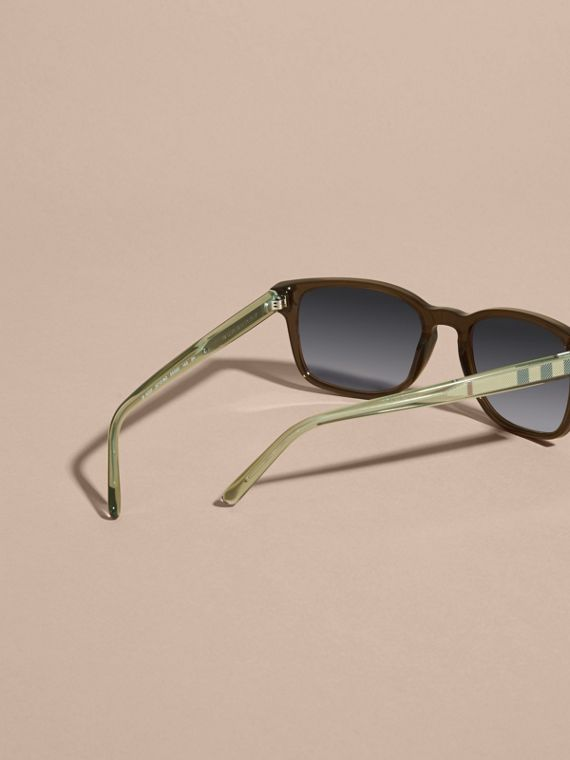 Check Detail Square Frame Sunglasses Olive - cell image 3