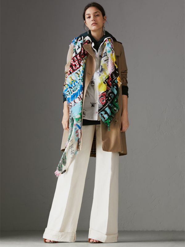 Tag Print Wool Silk Large Square Scarf in Multicolour | Burberry - cell image 2