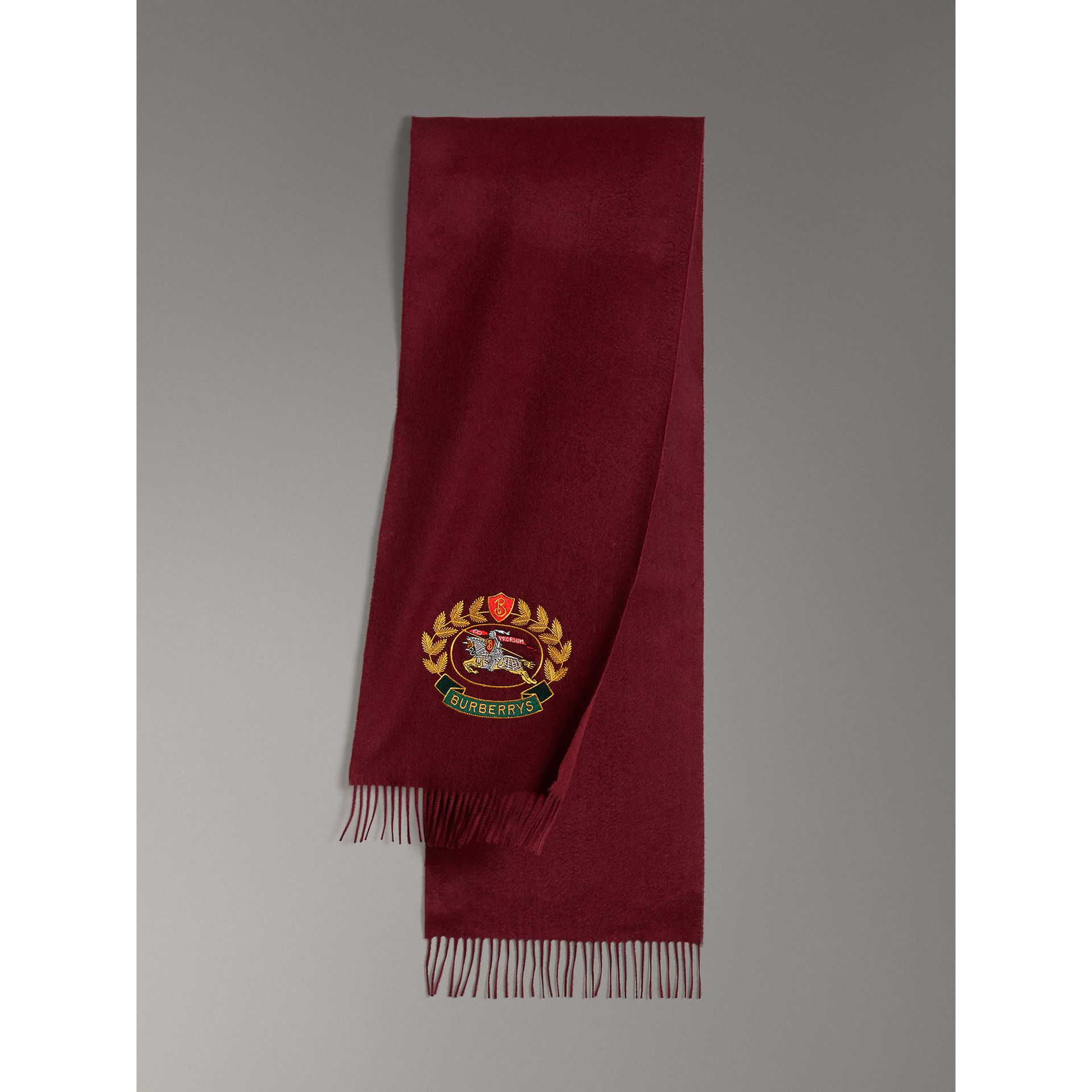 The Classic Cashmere Scarf with Archive Logo in Claret | Burberry United States - gallery image 0