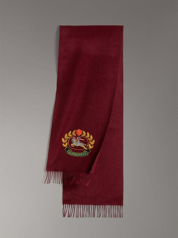 The Classic Cashmere Scarf with Archive Logo in Claret