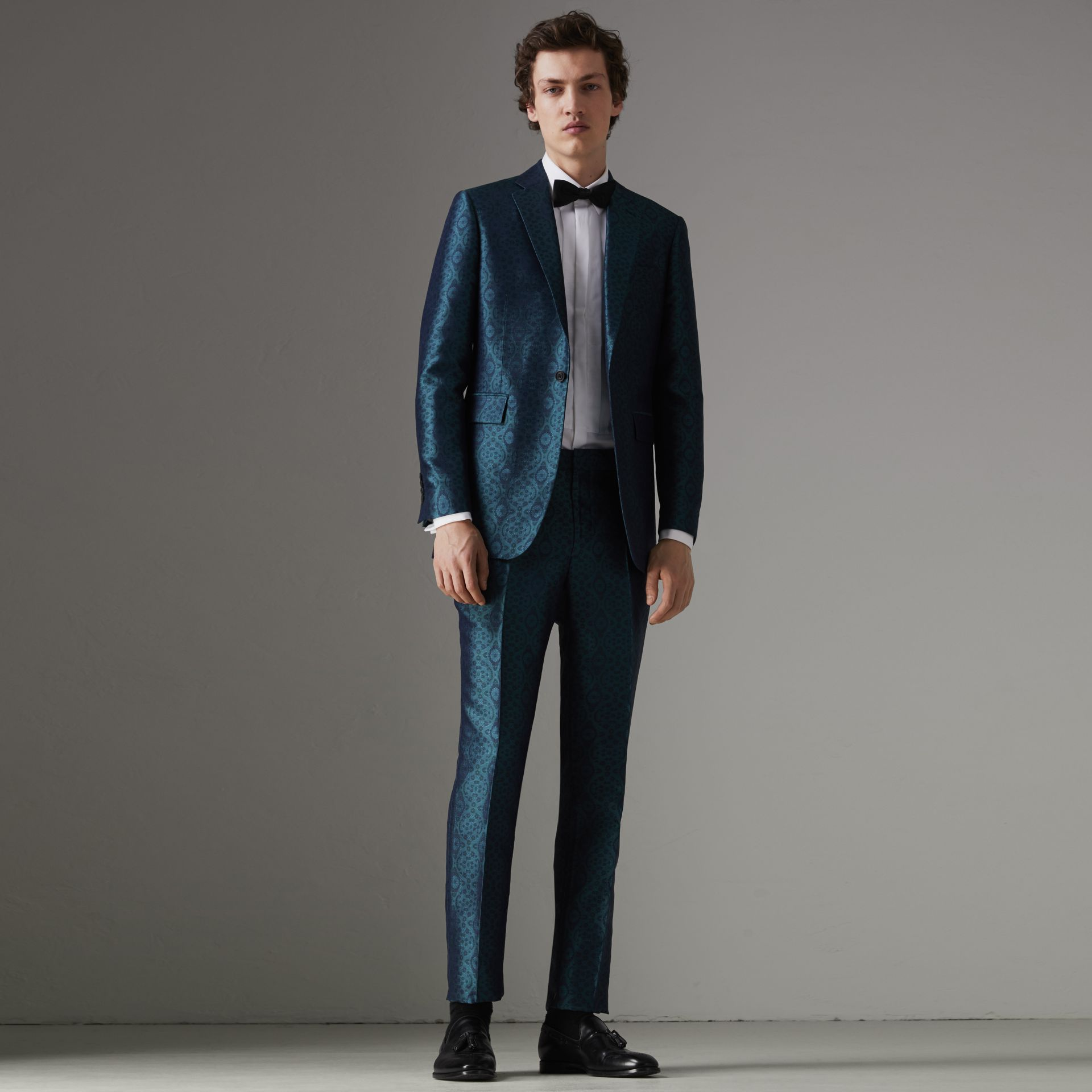 Soho Fit Geometric Silk Jacquard Suit in Dark Teal - Men | Burberry - gallery image 0