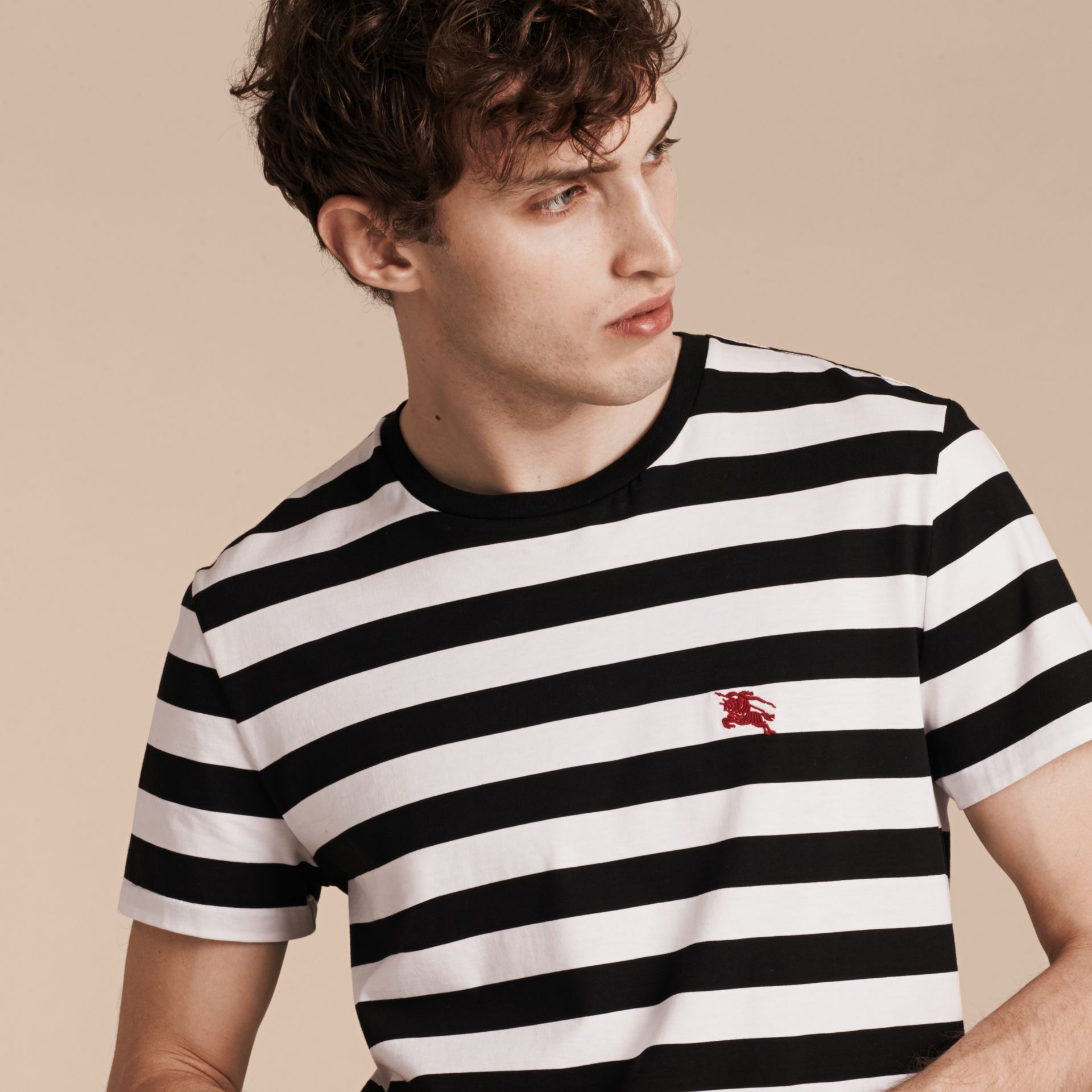 Striped Cotton T-Shirt in Black/white - gallery image 5