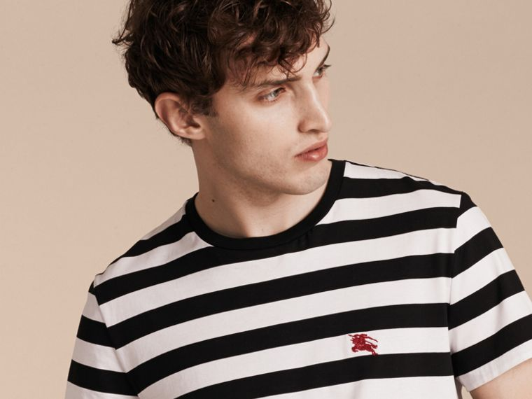 Striped Cotton T-Shirt in Black/white - cell image 4