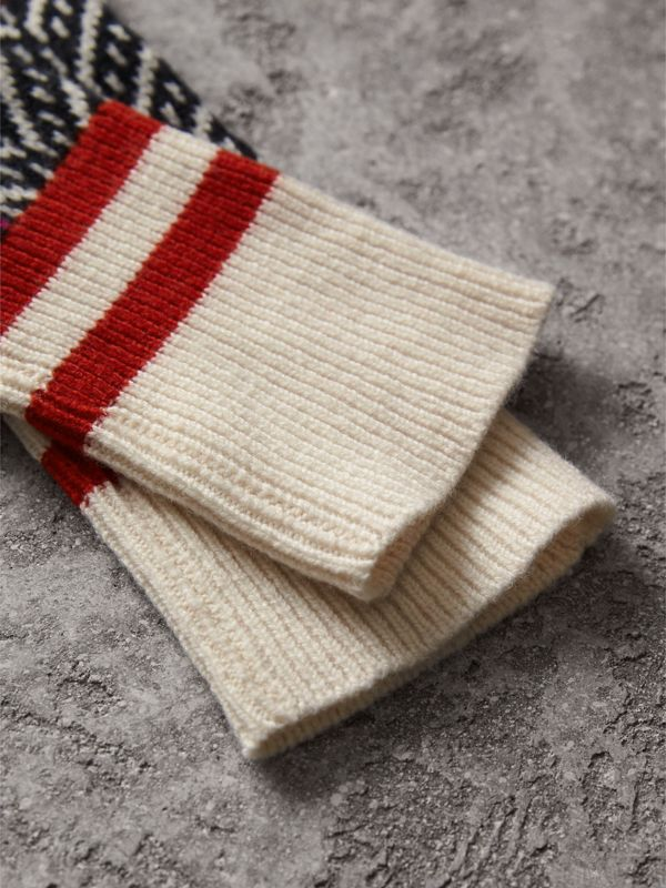Wool Cashmere Blend Fingerless Patchwork Gloves in Military Red | Burberry United Kingdom - cell image 2