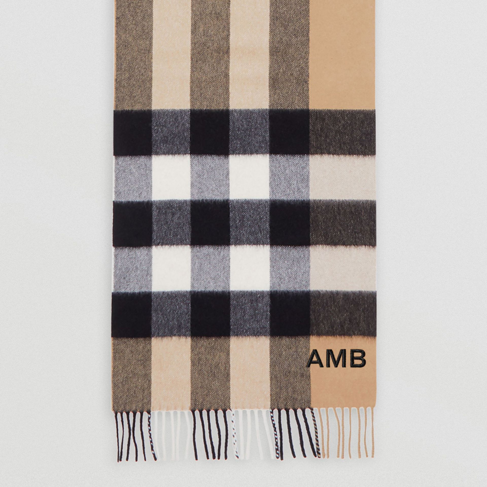 Check Cashmere Scarf in Archive Beige | Burberry - gallery image 7