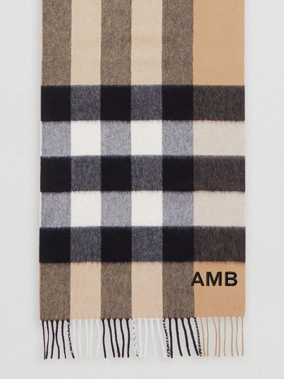 格紋喀什米爾圍巾 (典藏米色)