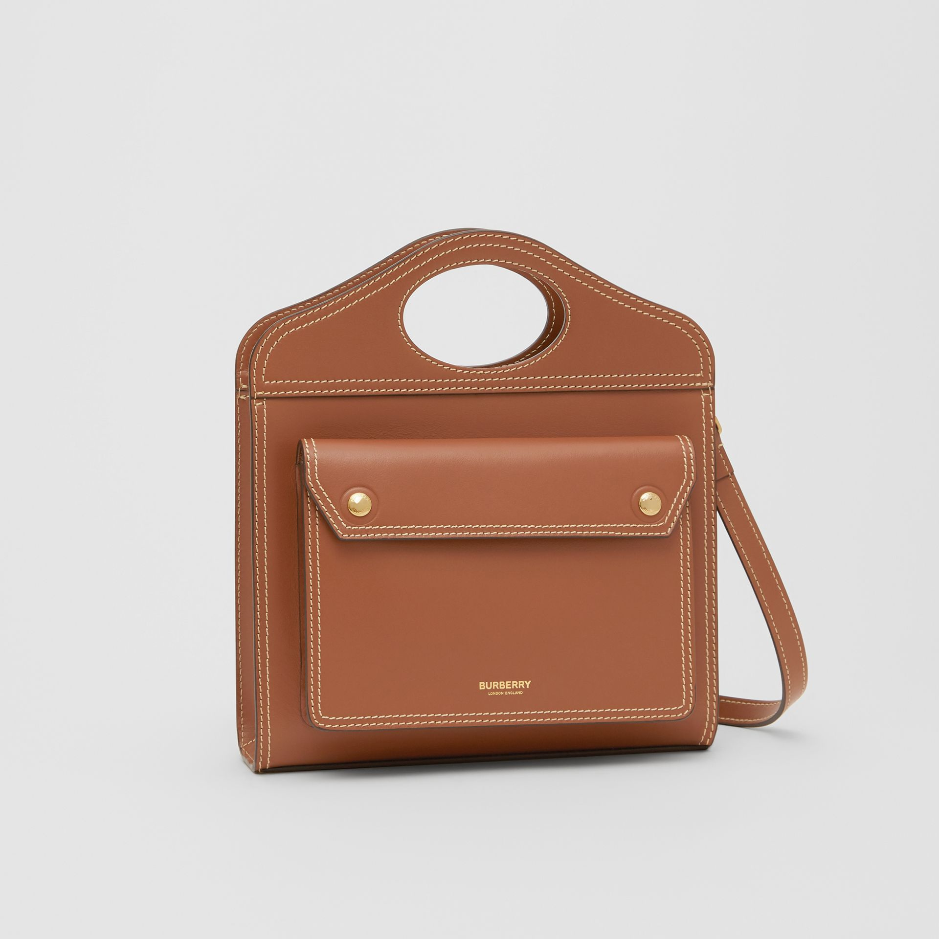 Mini Topstitch Detail Leather Pocket Bag in Malt Brown - Women | Burberry - gallery image 5