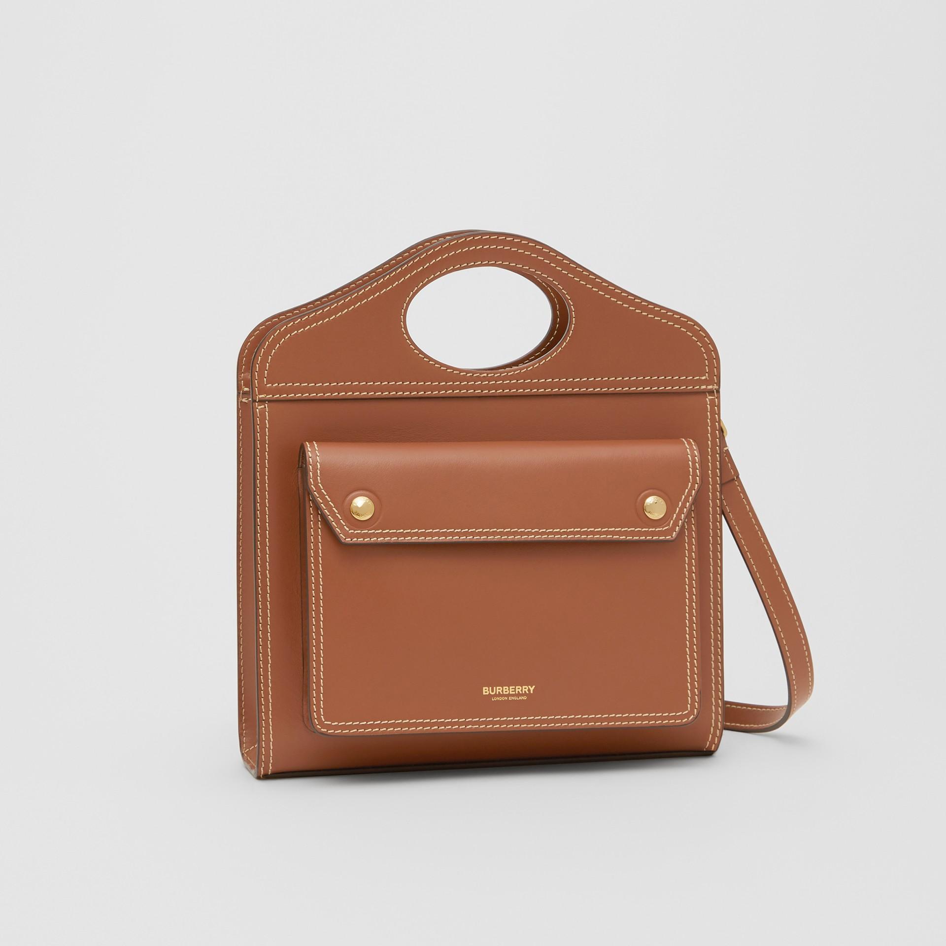 Mini Topstitch Detail Leather Pocket Bag in Malt Brown - Women | Burberry United Kingdom - gallery image 5