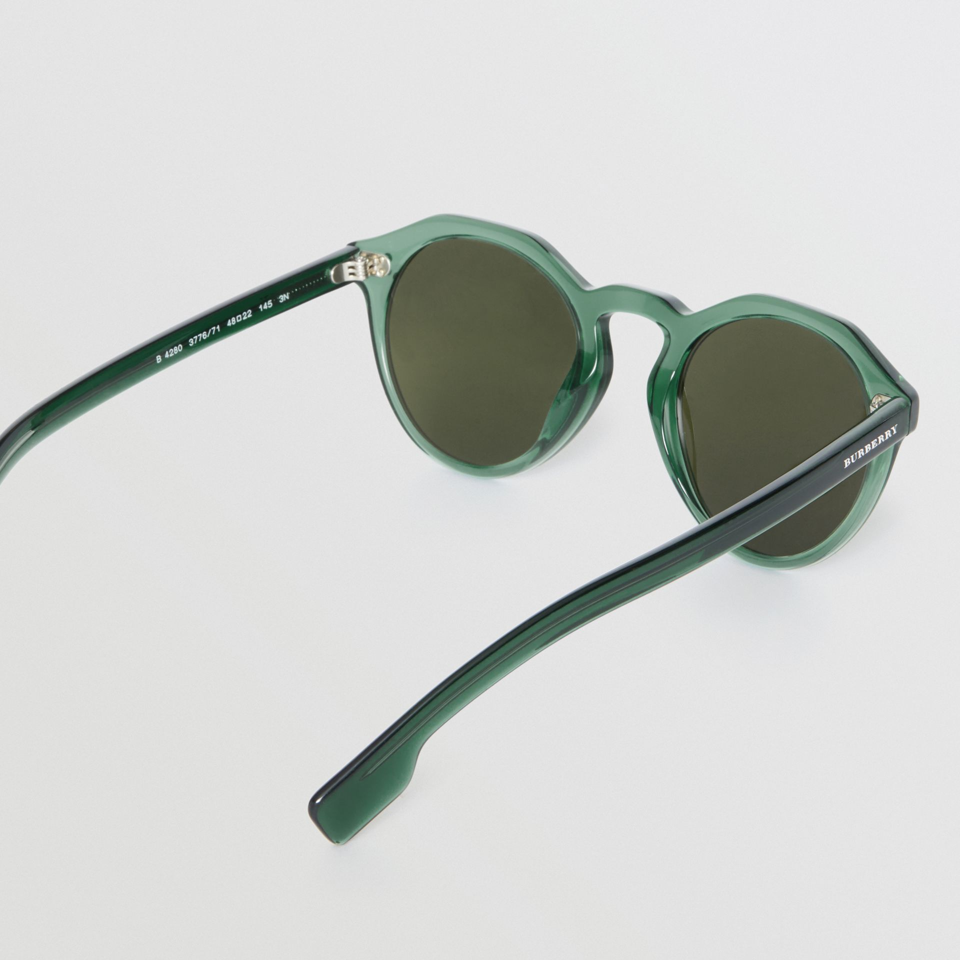 Keyhole Round Frame Sunglasses in Green - Men | Burberry United Kingdom - gallery image 4