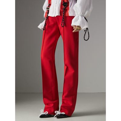 Wide Range Of Cheap Online Cotton Drill High-waisted Trousers - Red Burberry Find Great For Sale qO1ib2A