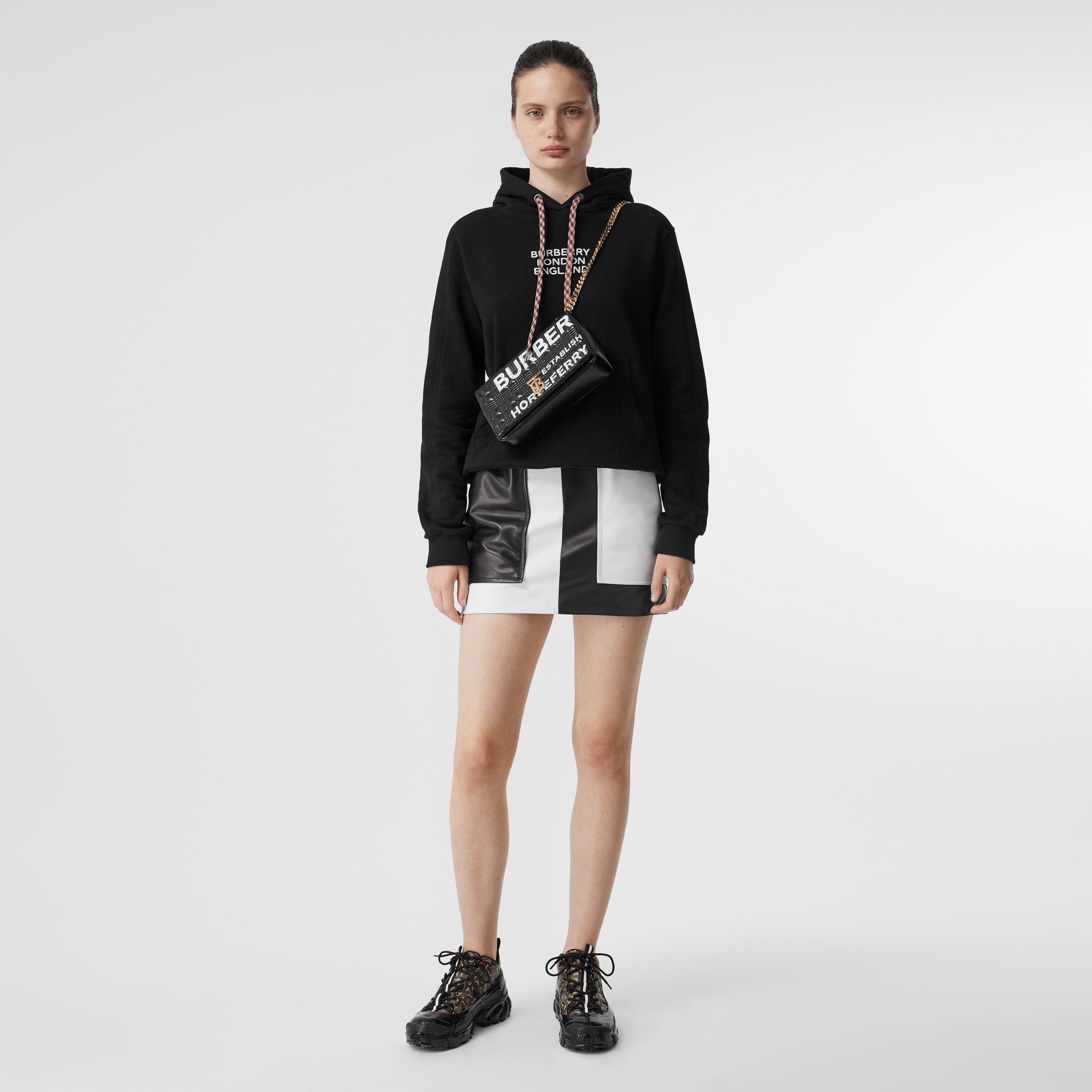 Embroidered Logo Cotton Oversized Hoodie in Black - Women | Burberry - 1